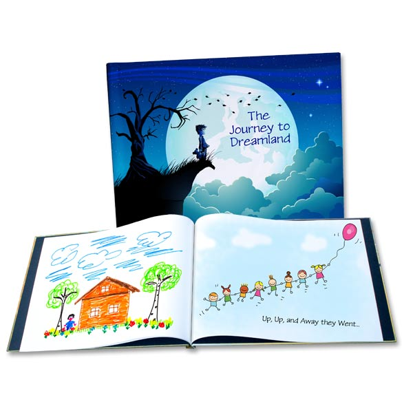 Our custom photo books make the perfect story book, designed with your child's photos and drawings.