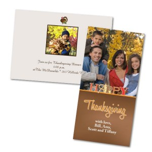 Create your own Thanksgiving photo cards and invite your loved ones to your upcoming turkey dinner.