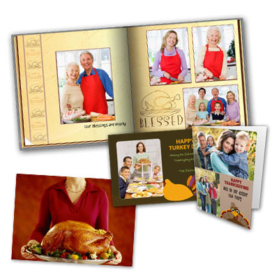 Celebrate what you're thankful for by designing your own Thanksgiving photo album or greeting card.
