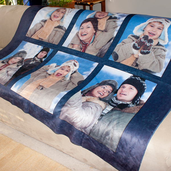 Warm and Soft personalized sherpa blanket over a couch