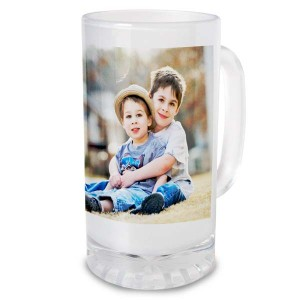 Print a photo on our custom photo frosted glass stein and enjoy a favorite photo while sipping your favorite cold beverage.