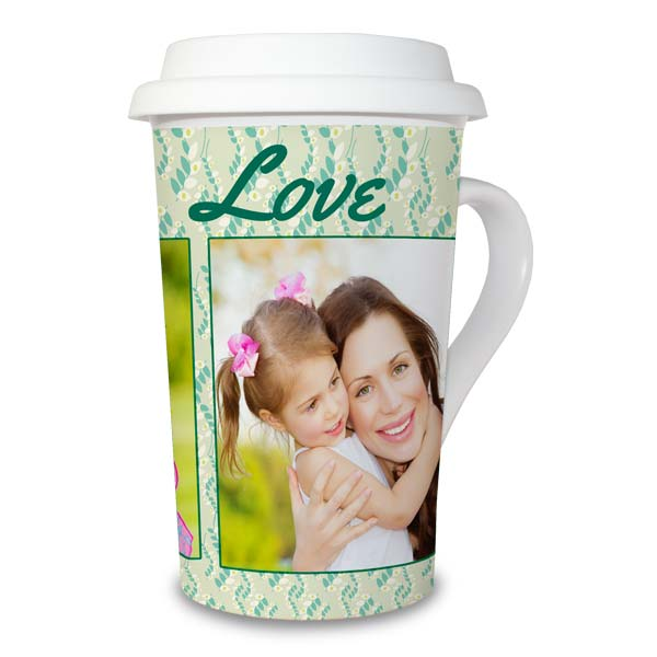 With a convenient silicone lid and custom printed photos, you can enjoy your morning tea or coffee with a photo latte mug.