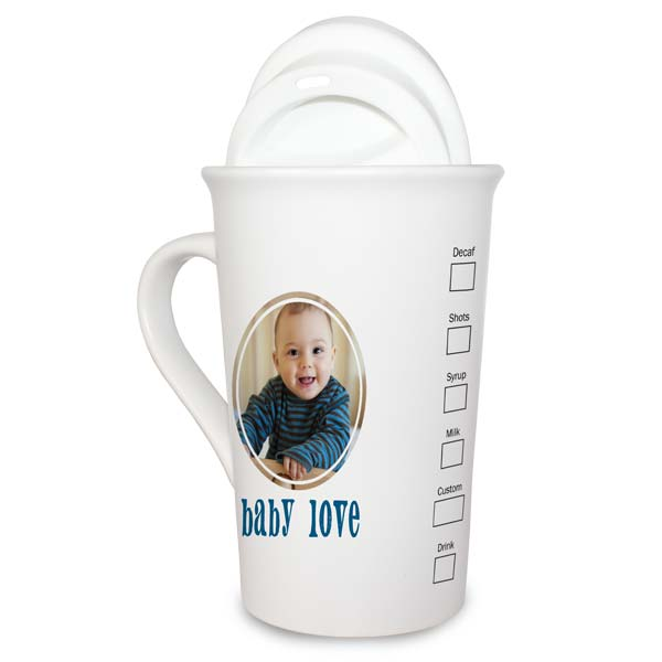 Custom Style Coffee House Personalized Latte Mug with Silicone Lid