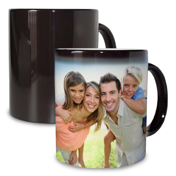 Watch your photos appear like magic with our customized black magic mug.