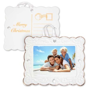 Porcelain Postcard Photo Ornament with Photo on one side and Merry Christmas Postcard art on back