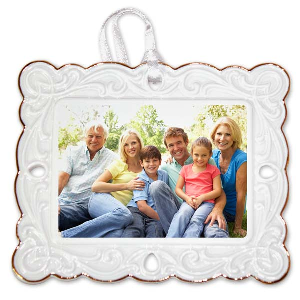 Porcelain postcard photo ornament front close up with border detail and gold trim