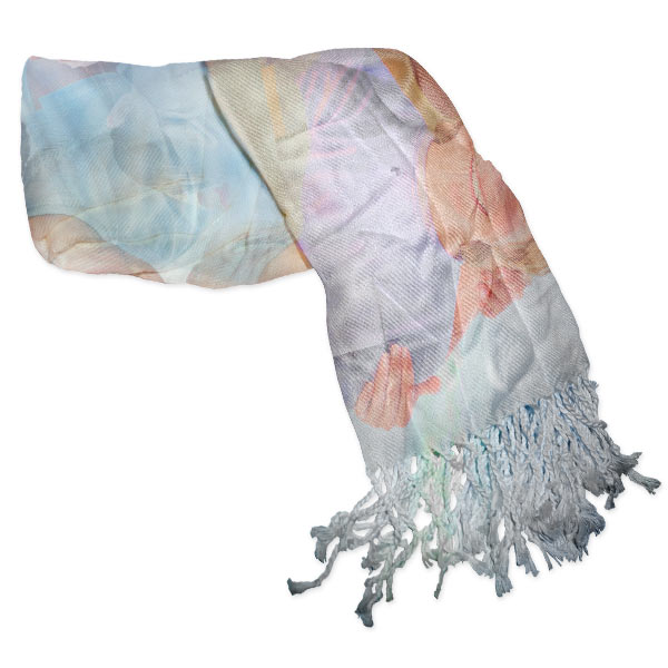 Photo Collage Scarf with Tassels