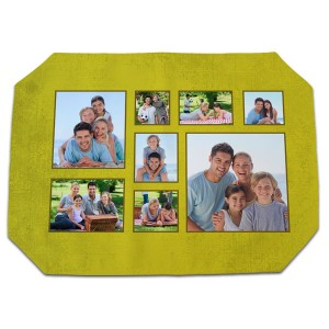 Designer fabric placemat with hemmed corners