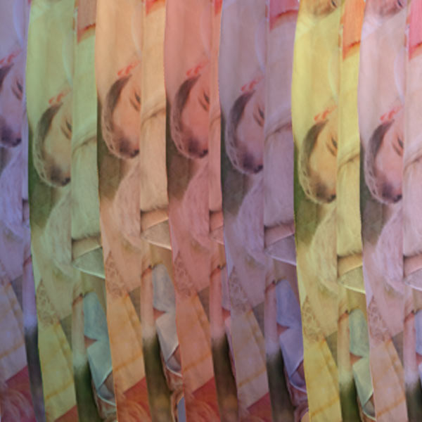Color tint options available for sheer photo scarves