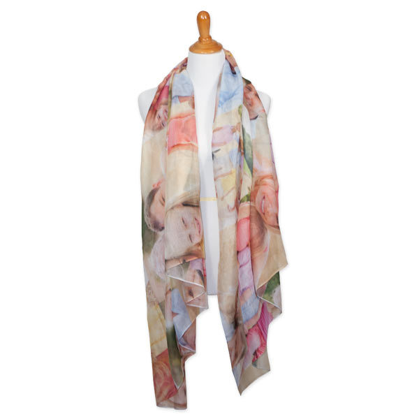 Incorporate your photos into any outfit with our custom sheer photo scarf.