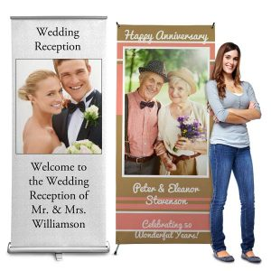 Perfect for parties and advertising our stand up banners can be customized with your own photos.
