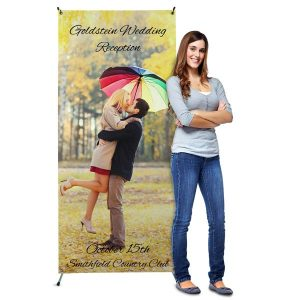 Our vinyl stand up banners can be personalized with your own photos and are perfect for any event.