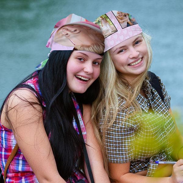Girls wearing Photo Personalized Bandanas