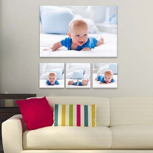 Add a sophisticated flair to any focal wall with our custom photo canvas wall arrangements.