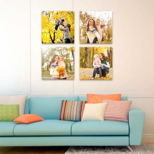 Our Cube canvas arrangement is sure to brighten up any wall while proudly displaying four photos.