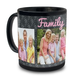 Beautiful custom made photo mug, black ceramic with family text
