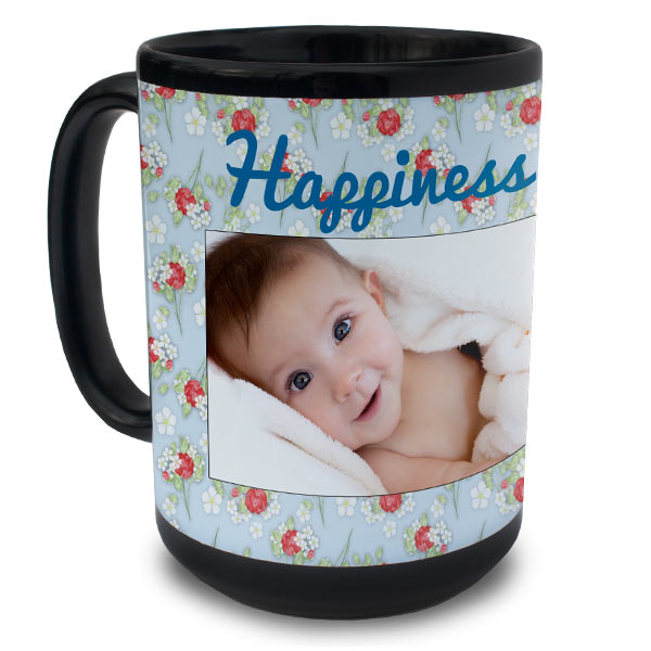 Brighten your morning with our fully customized black 15 oz mug printed with your best memories.