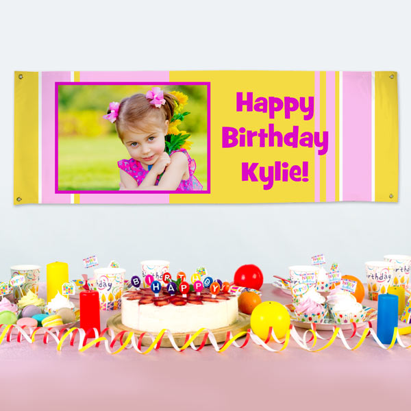 Personalize your party decor or business advertisement with our durable vinyl photo banners.