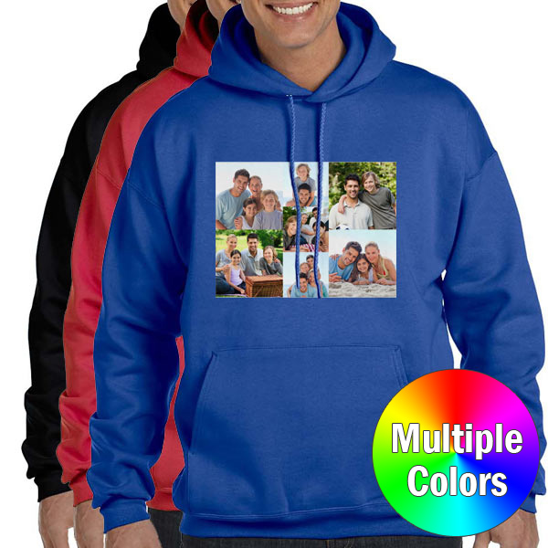 Upload a photo, choose a color and create the ultimate customized hooded sweatshirt.