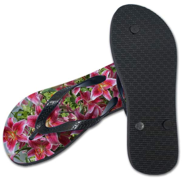 Flip flop and bottom of flip flop showing with lily flower photo added