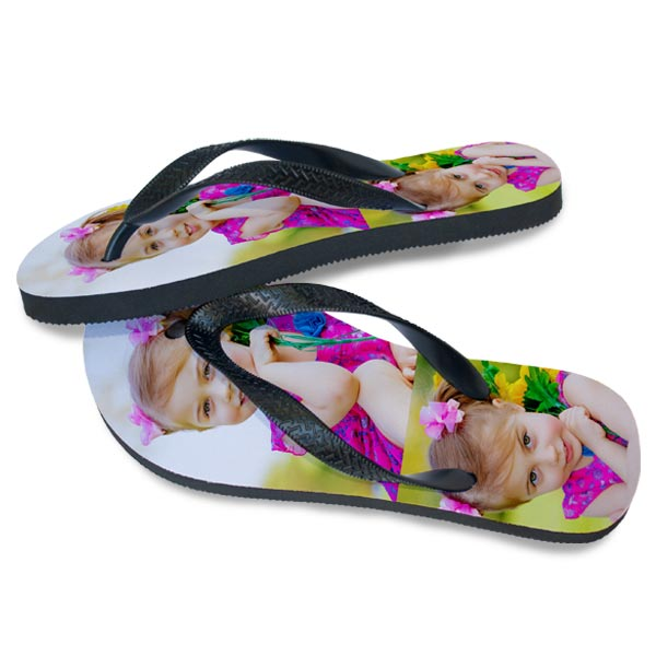 Custom Photo Flip flops featuring the same photos on both sandals and side view
