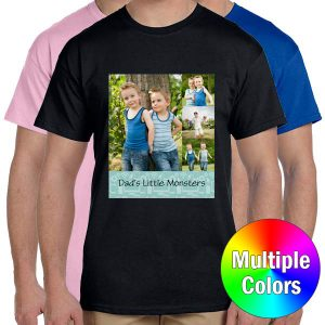 Choose your favorite color and print a cherished photo to create your own custom t-shirt.