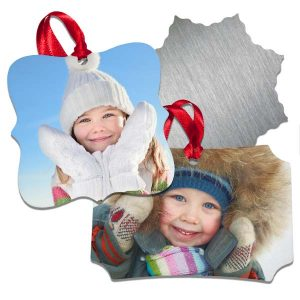 Durable and stylish, our aluminum ornaments can be customized with your own text and photos.