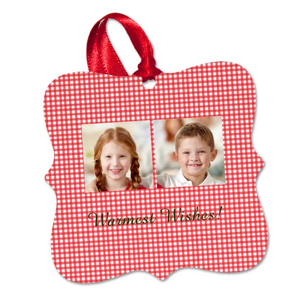 Create a personalized ornament using one to four photos and text