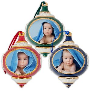 Classic Ornament style hand crafted porcelain photo ornaments