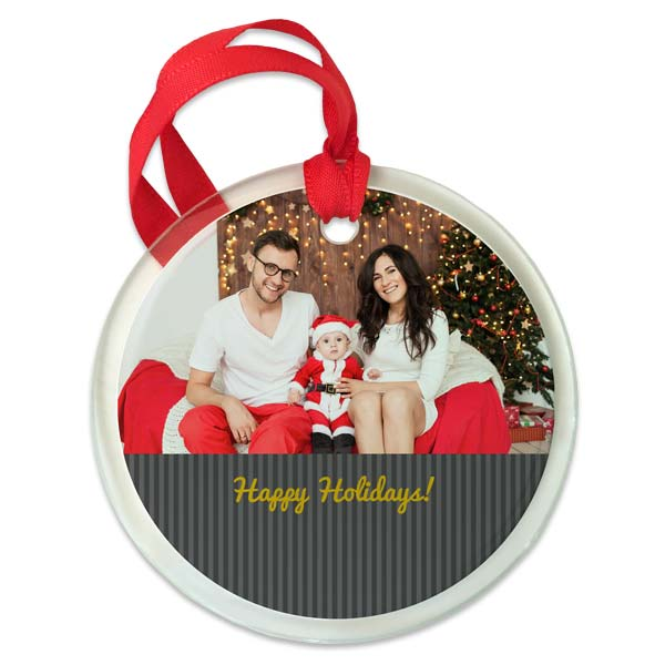 Round glass ornament with optional photo and text with background of choice