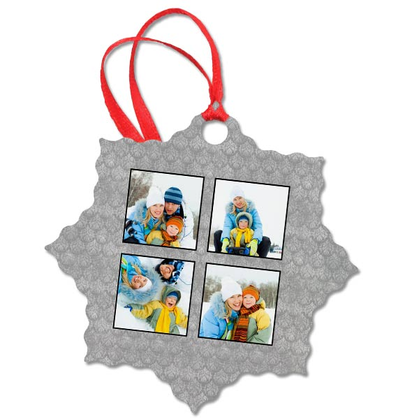 Multiple photo ornament snowflake metal