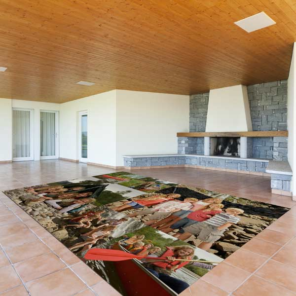 Warm a large tile floor with a felt top area floor mat of photo memories.