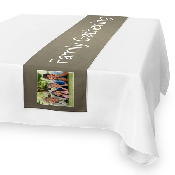 Spice up your dining table with a custom photo burlap table runner.