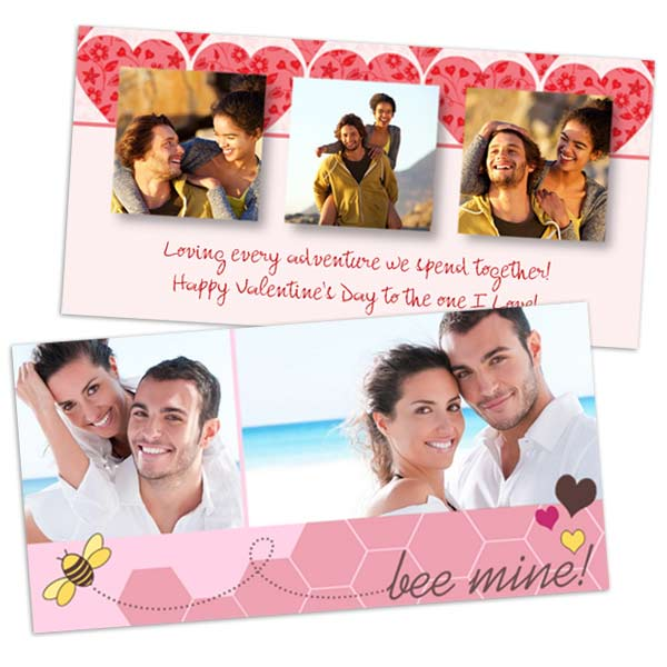 4x8 photo paper greetings customized with Valentines photos