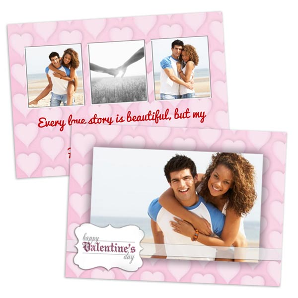 5x7 double sided postcard custom Valentines cards for love photos