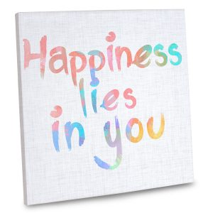 Incorporate a happy quote into your home's decor with our happiness quote canvas.