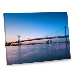 Add intrigue to your distinctive home decor with our wall canvas depicting a bridge at dusk.
