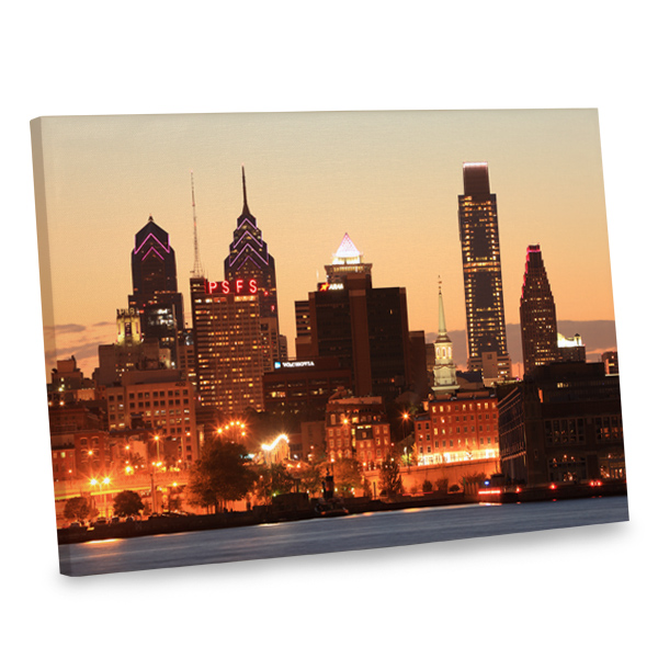 Add interest to your living room decor with our stunning Philly Sunset canvas decor.