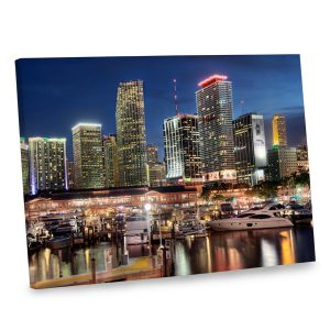 Add the festive flair of nighttime in Miami to your decor with our gallery wrapped photo canvas.