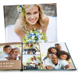 11x14 Personalized album with photo glossy hard cover and lay flat pages.