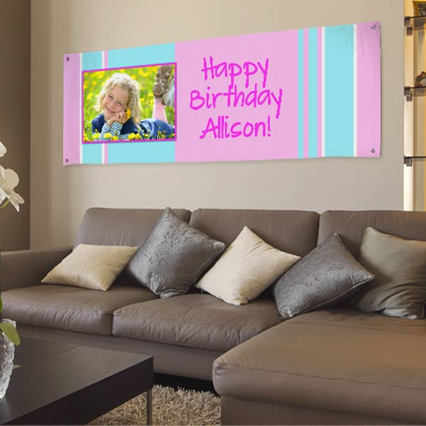Using your own photos and custom text to create a banner, perfect for birthday parties!