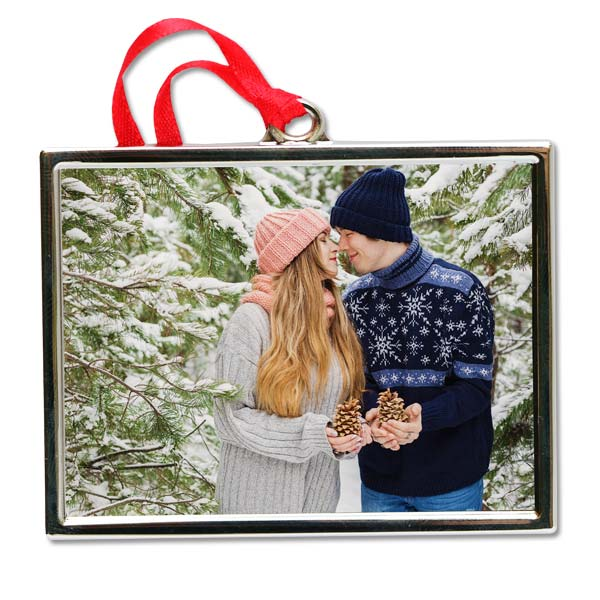 Add your photograph to your own silver ornament for the holidays