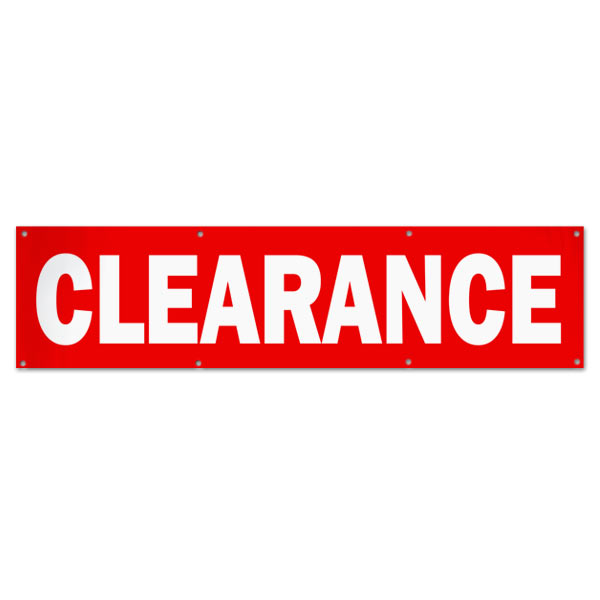 Order a custom pre-printed clearance banner size 8x2