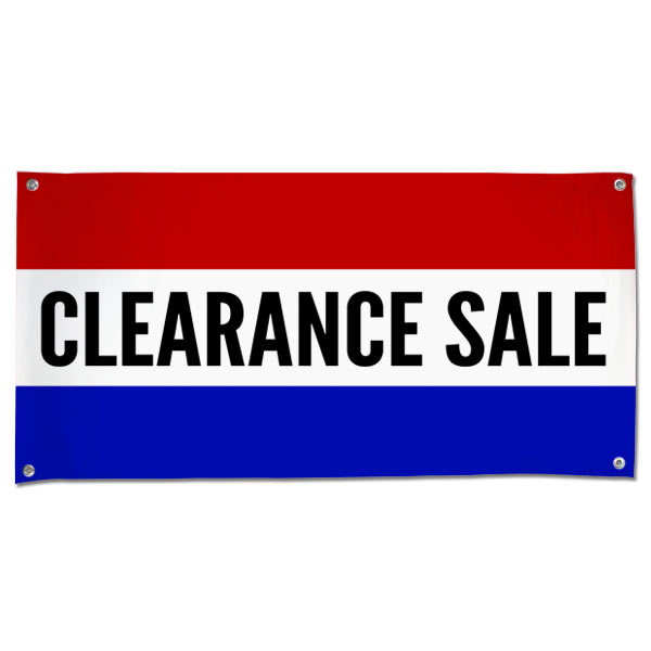 Pre-Printed, Classic style red, white and blue clearance sale banner size 4x2