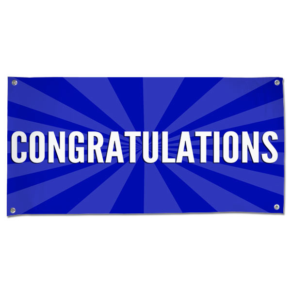 Congratulations Banner With Blue Starburst And White