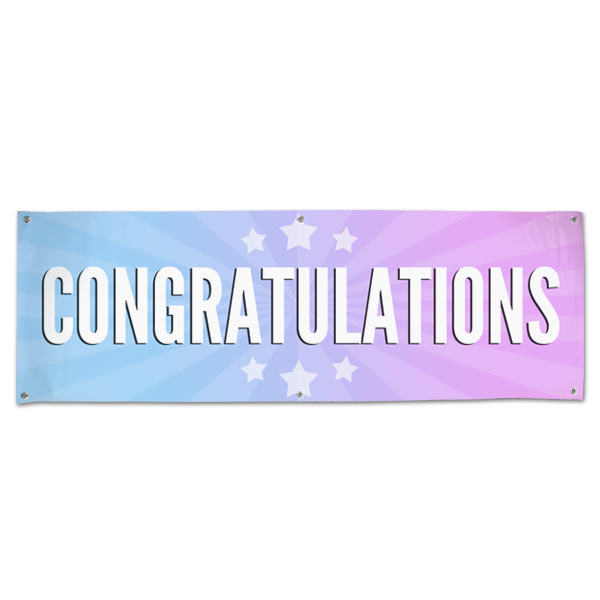 Bright and beautiful starburst congratulations banner with multi-color background and stars size 6x2