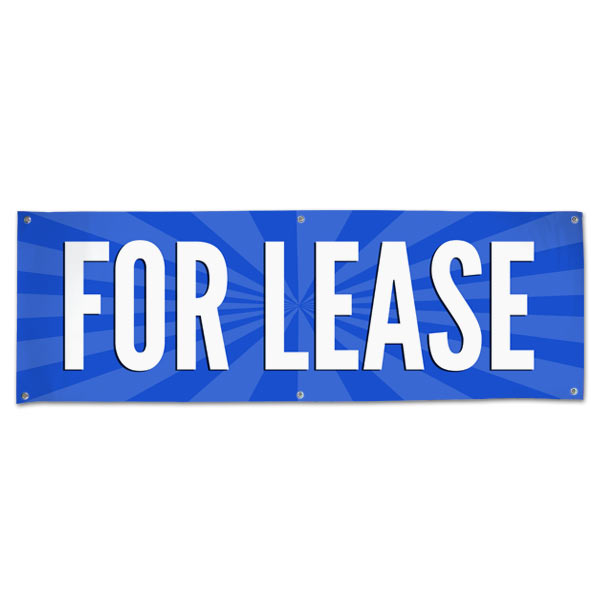 Lease your space and announce it to all with an easy to read banner blue For Lease Banner size 6x2