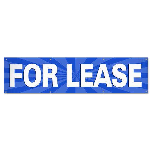Lease your space and announce it to all with an easy to read banner blue For Lease Banner size 8x2