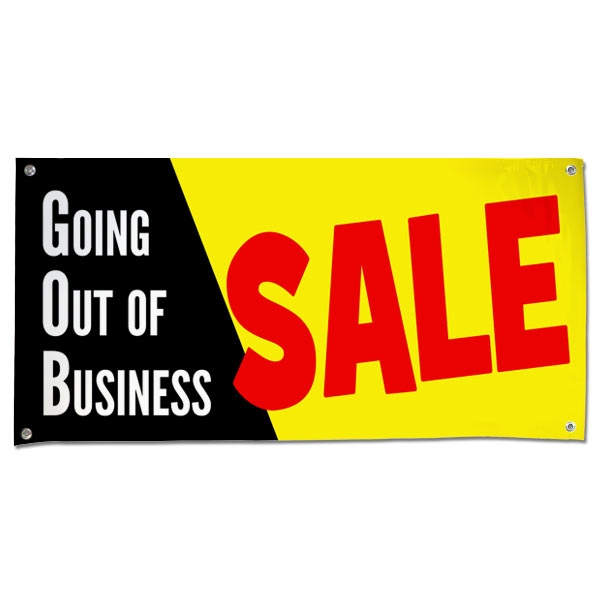 Going out of Business Vinyl Sale Banner with Black, Yellow and Red Colors size 4x2