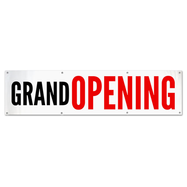 Announce the opening of your business with a clean and simple grand opening banner size 8x2
